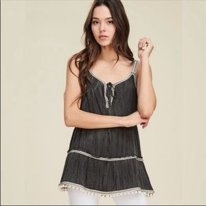 NEW! RUFFLED TANK WITH TRIM